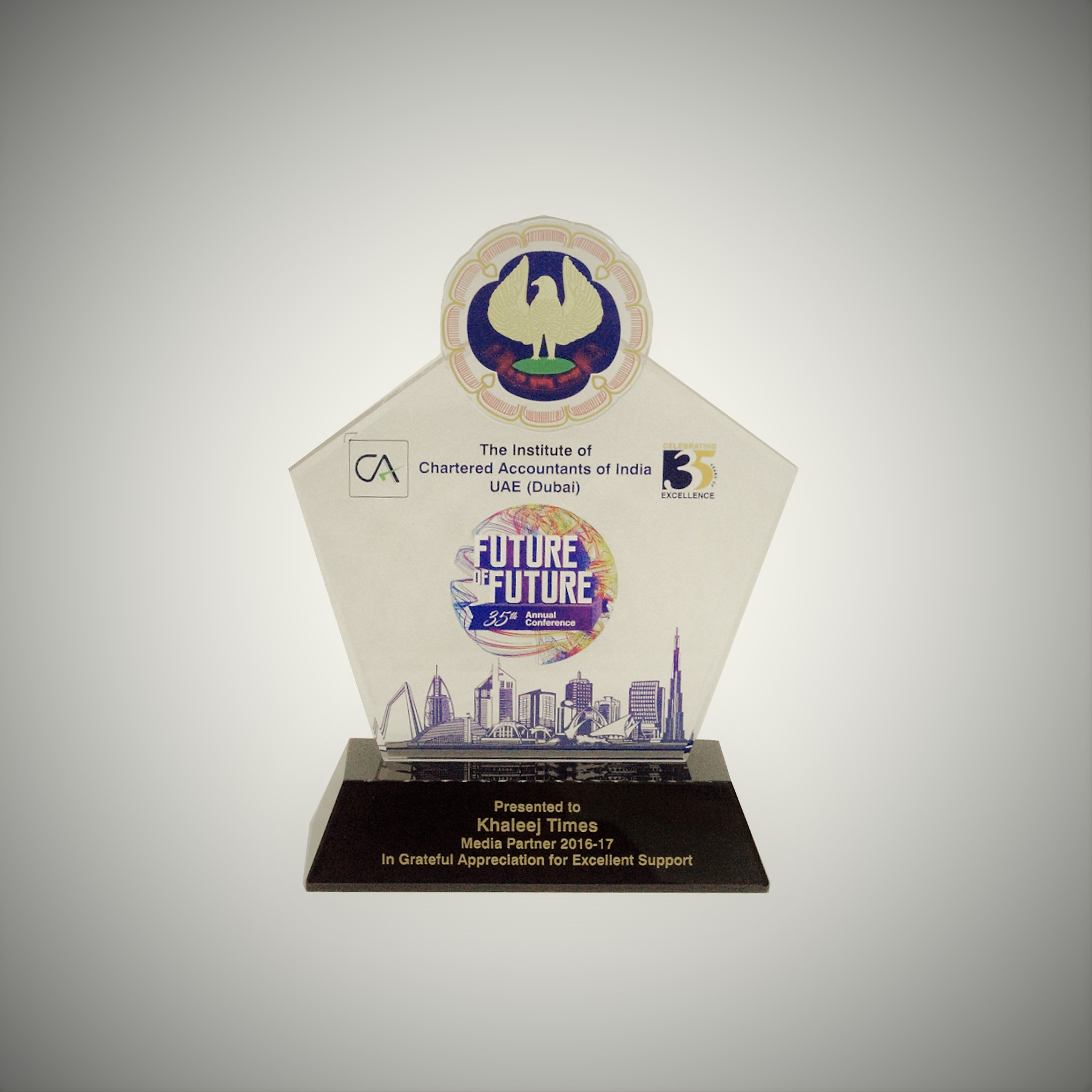 Awarded to Khaleej Times for grateful appreciation for excellent support as Media Partner 2016-17, during the 35th Annual Conference by The Institute of Chartered Accountants of India UAE (Dubai)