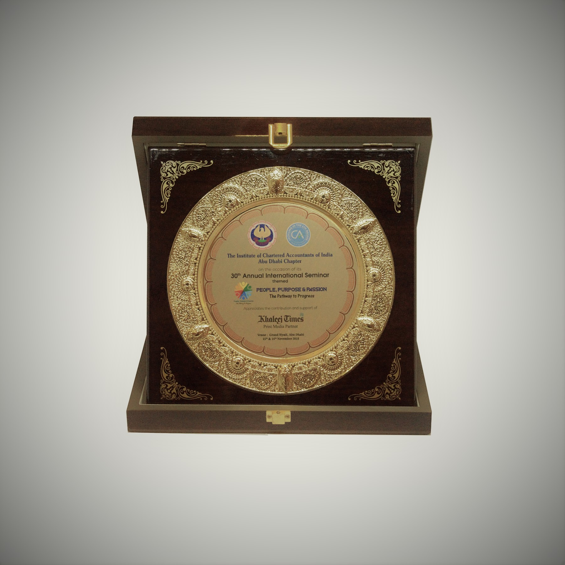Awarded to Khaleej Times for contribution and support as Print Media Partner during the 30th Annual International Seminar by The Institute of Chartered Accountants of India, Abu Dhabi Chapter, in 2018